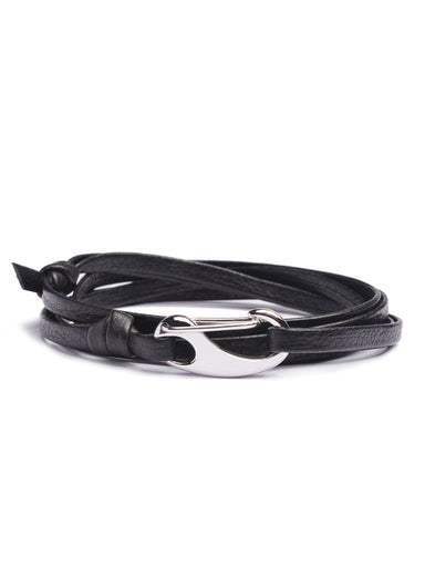 """Airman"" Black + Silver Leather Bracelet for Men"