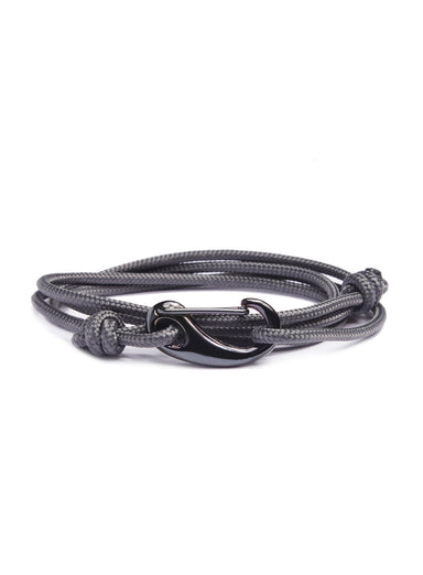 """Seal"" Slate Gray + Gun Metal Tactical Cord Bracelet (01K)"