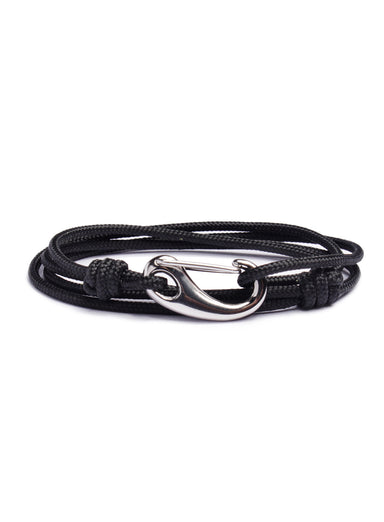 """Anchored"" Black + Silver Tactical Cord Bracelet (04S)"