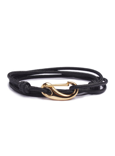 """Atlantic"" Black + Gold Tactical Cord Bracelet (04G)"