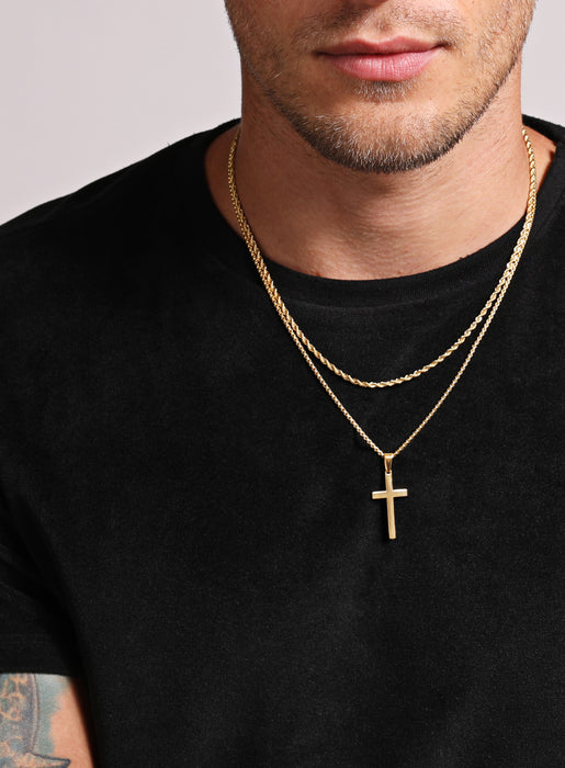 Necklace Set: Gold Rope Chain and Large Gold Cross