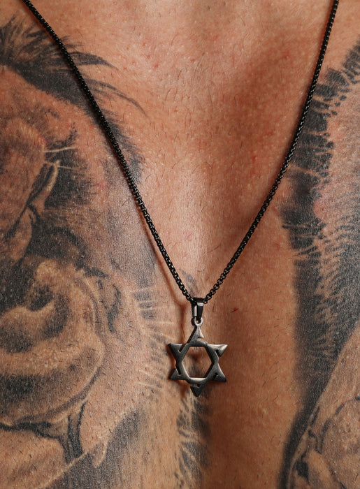 Stainless Steel (Black Plated) Star of David Necklace for Men