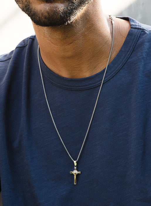 Two tone Cross Necklace for Men (Round Box Chain)