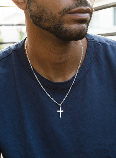 PREORDER: Sterling Silver Cross Chain on Rope Chain (SHIPS 2.15.21)