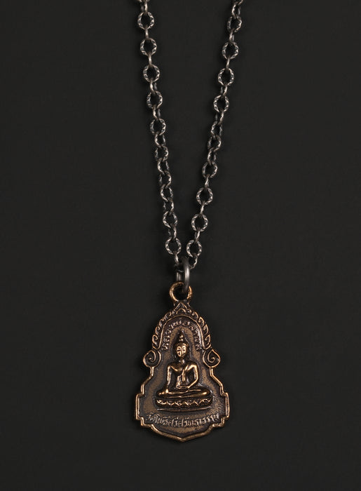Bronze Buddha and Sterling Chain Men's Necklace