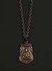 Bronze Buddha and Hammered Sterling Chain Men's Necklace