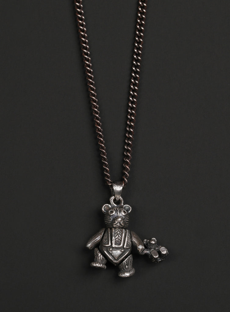 "Sterling Silver ""Ride or Die"" Teddy Bear Necklace"