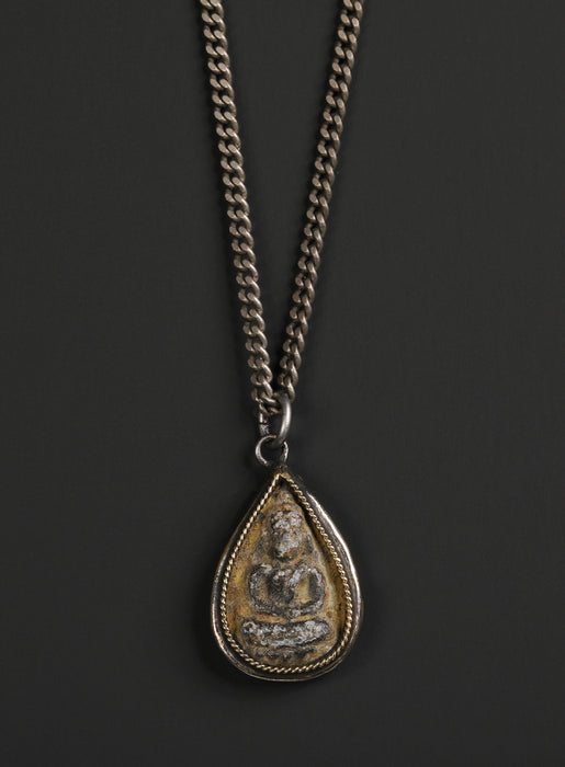 Sitting Buddha Drop Amulet Necklace for Men