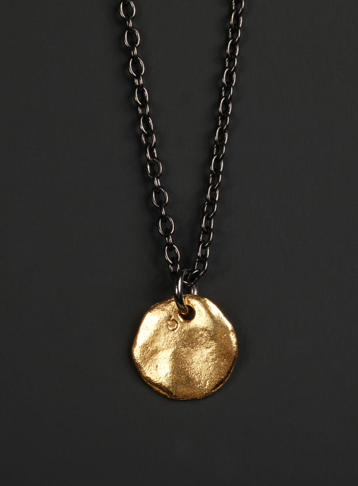 Gold Tag + Sterling Chain Necklace for Men