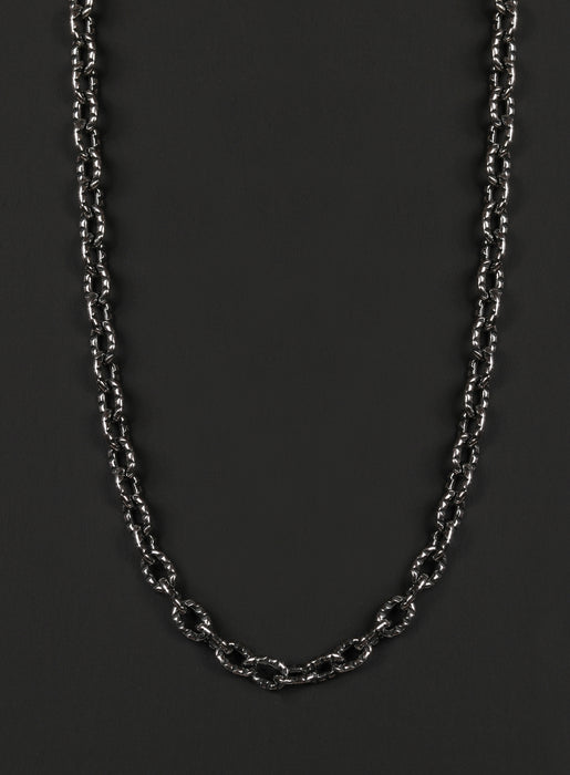 Men's Sterling Silver Chain Necklace (Oval Hammered Link)