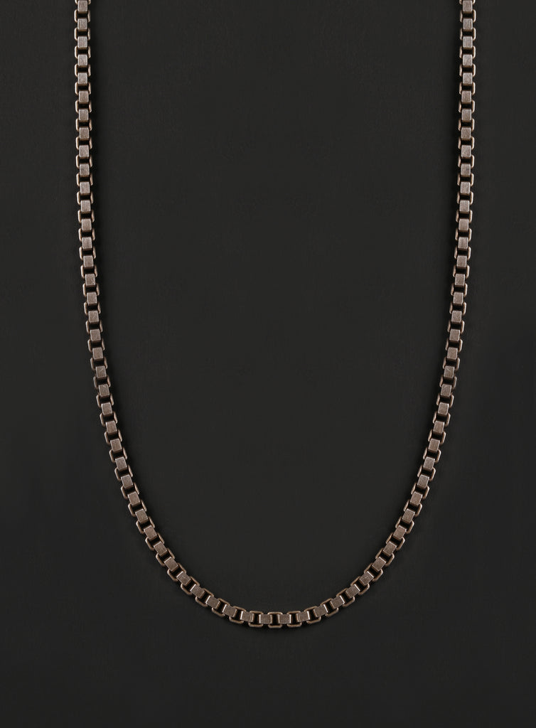 Men's Sterling Silver Box Chain Necklace (Oxidized Link)