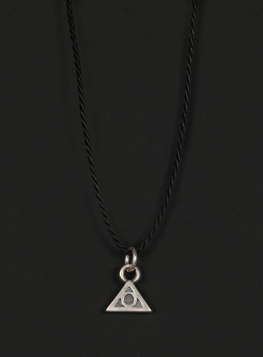 Men's Cord Necklace with Sterling Silver Triangle Pendant