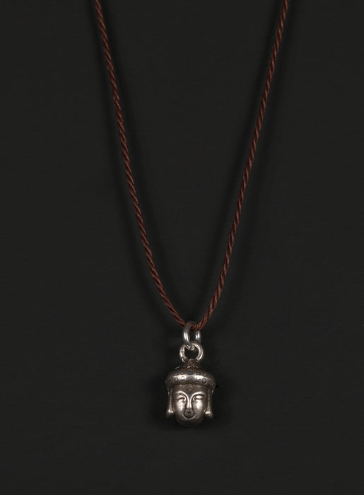 Men's Cord Necklace with Sterling Silver Buddha Head Pendant