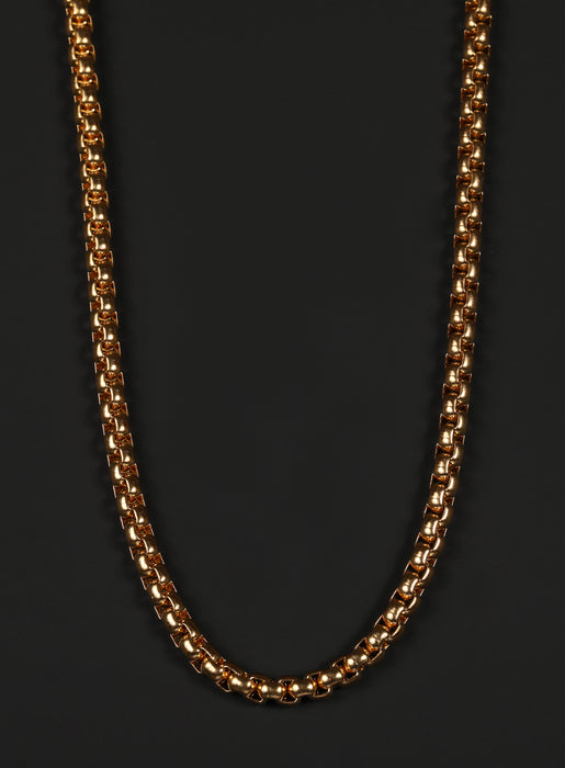 4mm Gold Round Box Chain Necklace for Men.