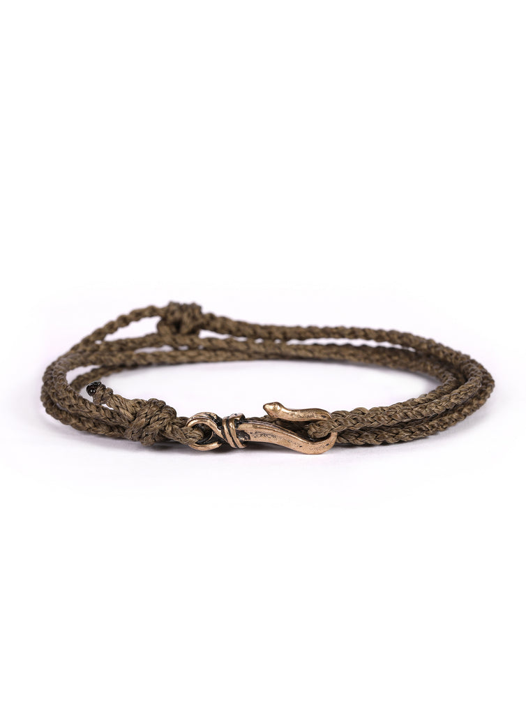Olive Drab Braided Rope Men's Bracelet