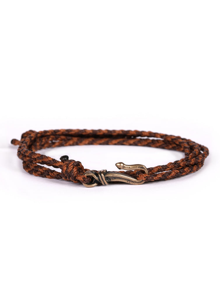 Brown + Orange Braided Rope Men's Bracelet