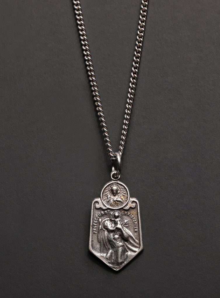 Sterling Silver St. Christopher Necklace for Men
