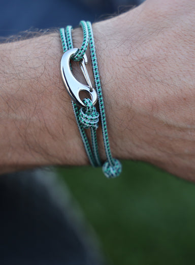 Green + Gray Tactical Cord Bracelet for Men (Silver Clasp - 29S)