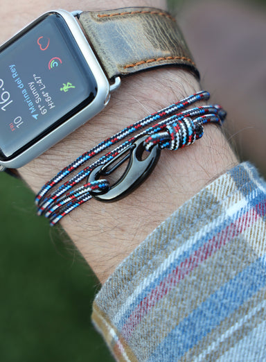 Black, Red and Blue Tactical Cord Bracelet for Men (Black Clasp)