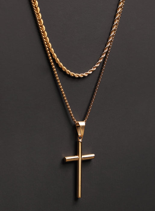 Necklace Set: Gold Rope Chain and Gold Bamboo Cross Necklace