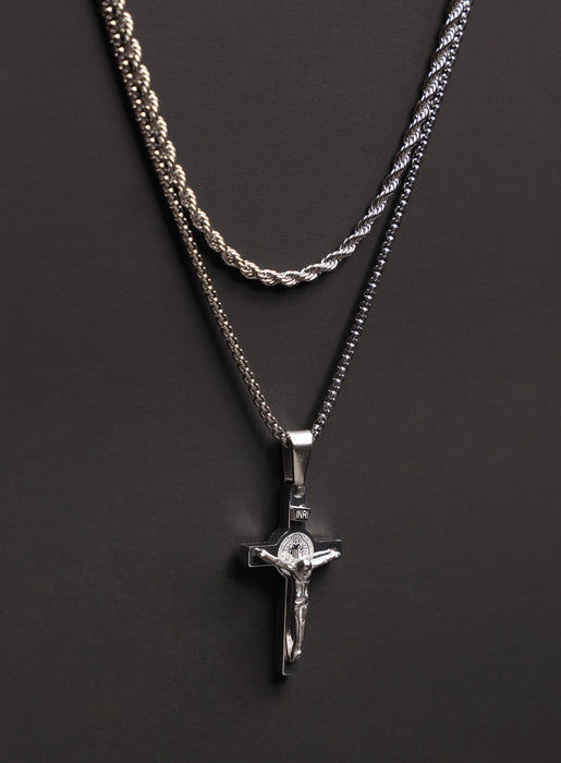Necklace Set: Silver Rope Chain and Silver Crucifix Necklace