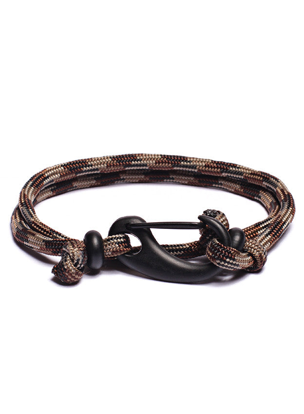 Camo + Black Paracord Bracelet with Matte Black