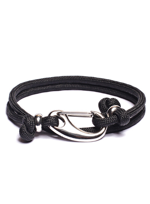 Black Paracord Bracelet with Silver clasp