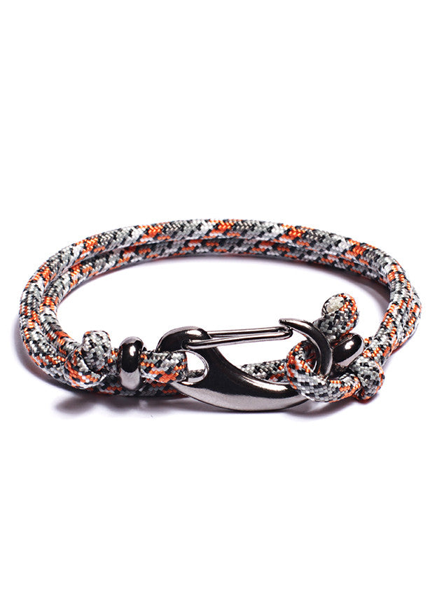 Gray + Orange Paracord Bracelet with Gun Metal Clasp