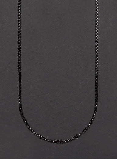 Black gunmetal plated stainless steel round box chain necklace for men