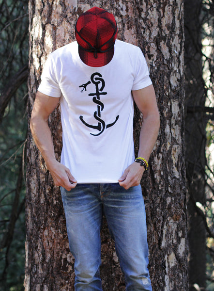 """Anchor"" white short sleeve t-shirt"