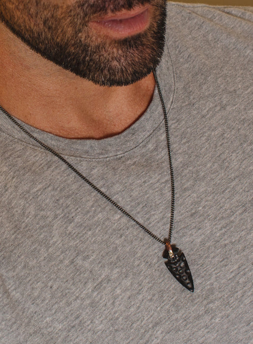 Men's Hand-Carved Wood Arrowhead Pendant Necklace