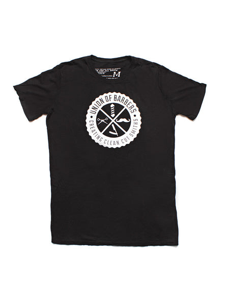 """Barbers Union"" short sleeve black t-shirt"
