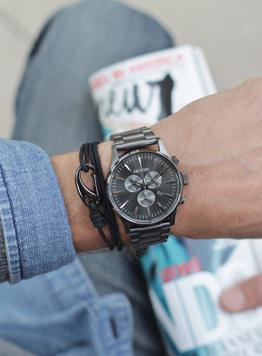 """Trident"" Black + Gun Metal Tactical Cord Bracelet for Men"
