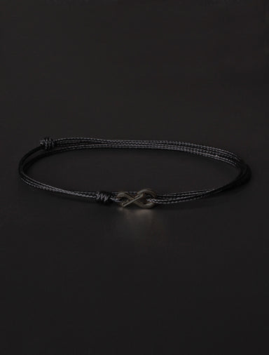 Infinity Bracelet - Black cord men's bracelet with black clasp