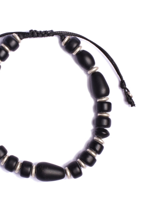 Black Glass Shapes and Silver Beaded Men's Bracelet