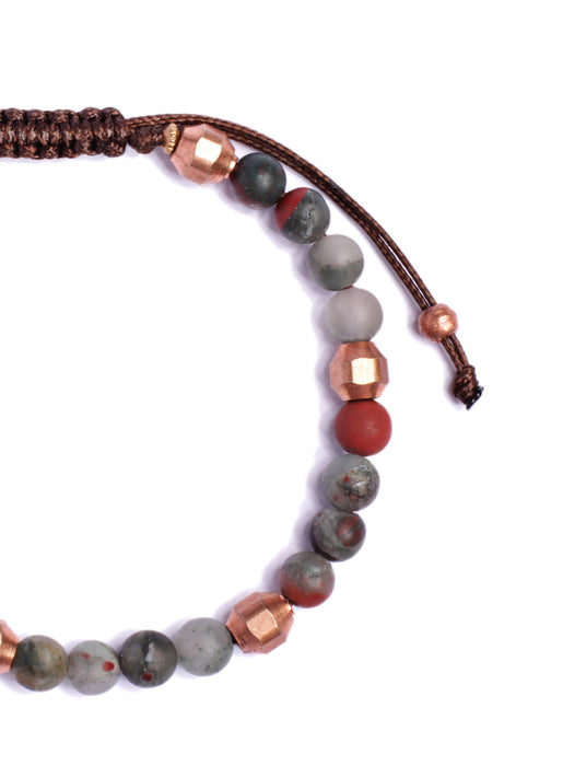 Bloodstone and Copper Beaded Men's Bracelet