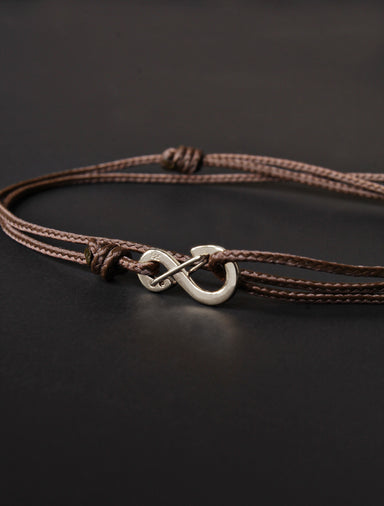 Infinity Bracelet - Brown cord men's bracelet with silver clasp