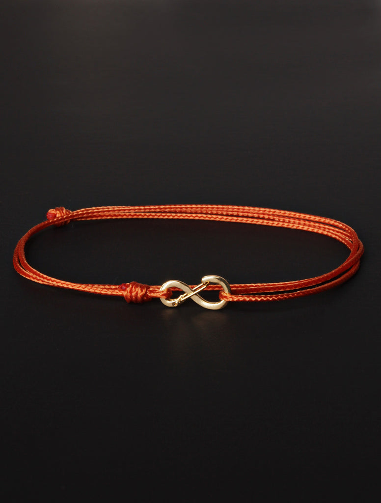 Infinity Bracelet - Burnt Orange cord men's bracelet with gold clasp