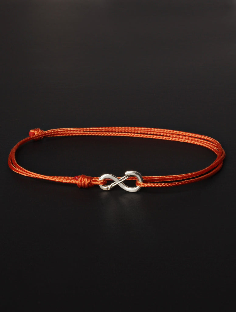 Infinity Bracelet - Burnt Orange cord men's bracelet with silver clasp