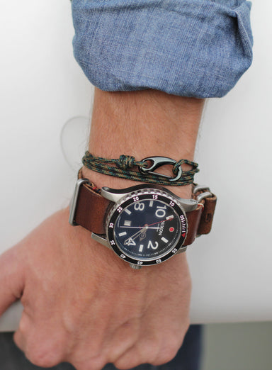 """Zero Dark Thirty"" Camo + Gunmetal Tactical Cord Bracelet for Men (08K)"