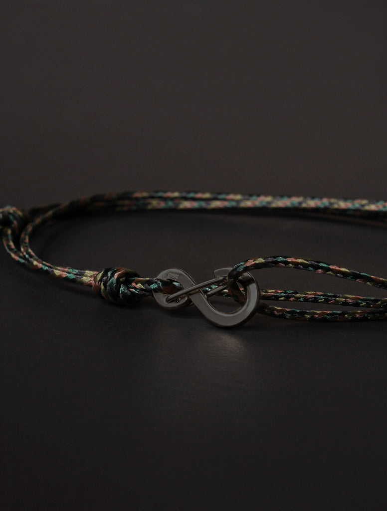 Infinity Bracelet - Camo cord men's bracelet with black clasp