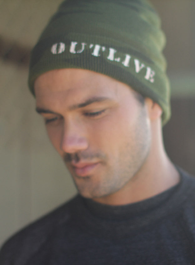 Camo beanie: Outlive by We Are All Smith