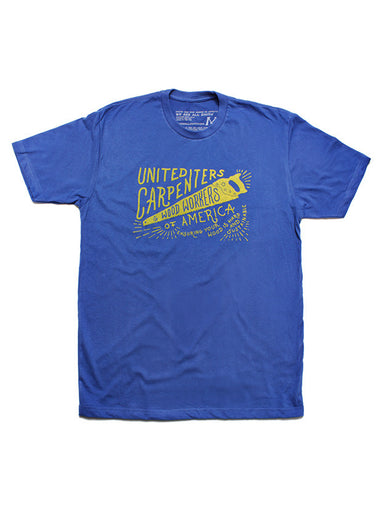 "Blue Short Sleeve T-shirt: ""Carpenters and Woodworkers"""