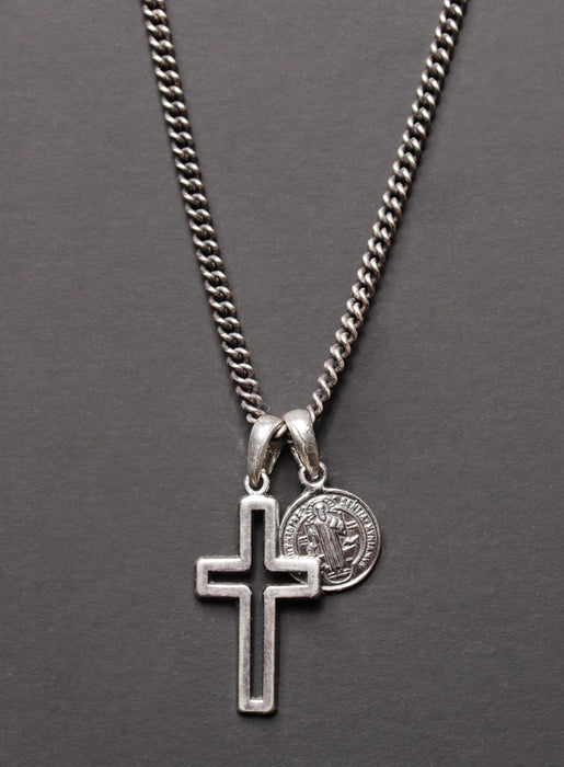 Sterling Silver Cross + Saint Benedict Medal for Men