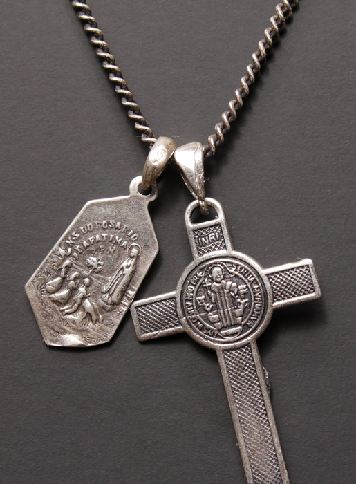 Sterling Silver Cross + Mary Medal Necklace for Men.