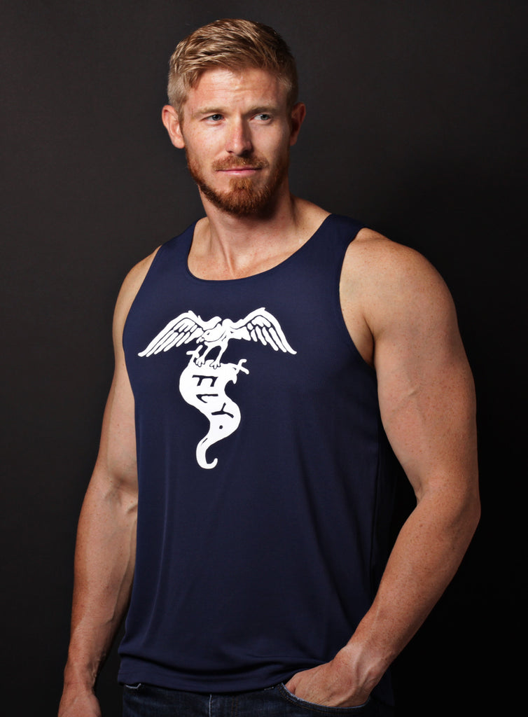 """Fly"" navy blue dry-wicking tank"