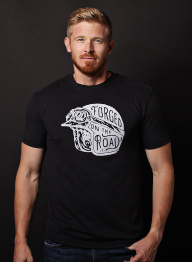 """Forged on the Road"" black short sleeve t-shirt"