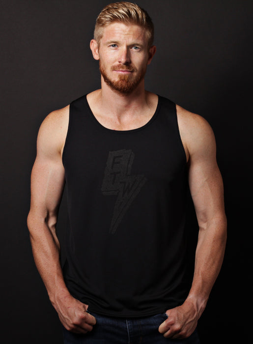 """Forever Two Wheels"" black dry-wicking tank"