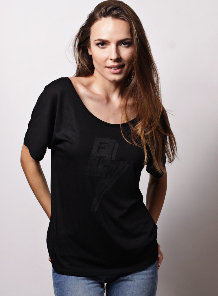 """Forever Two Wheels"" black slouchy tee for women"