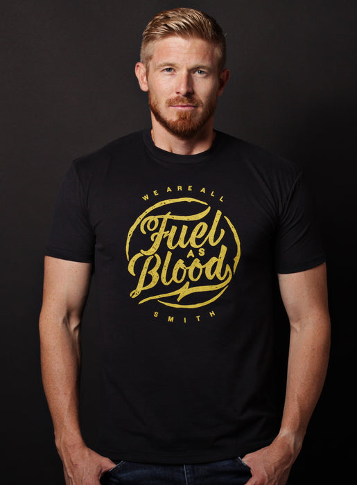 """Fuel as Blood"" black short sleeve v-neck t-shirt"